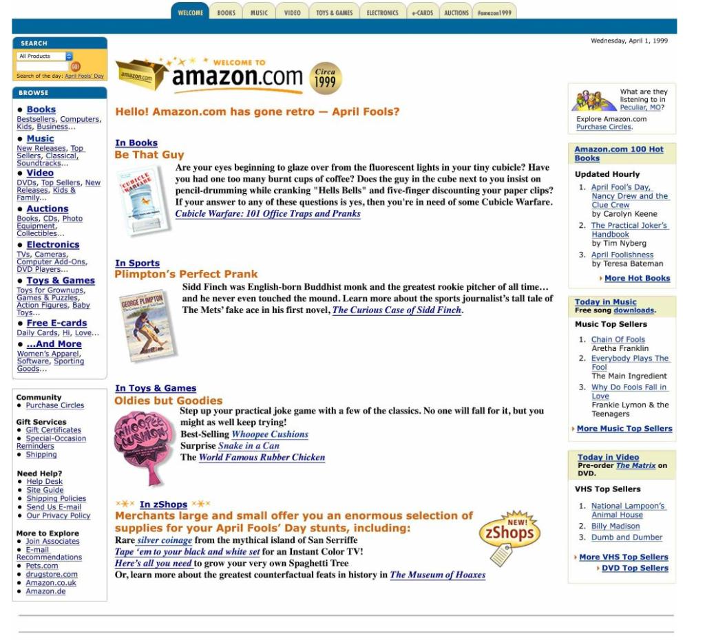 Amazon April Fools Retro 1999